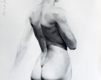 female nude study, charcoal on paper drawing