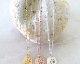 Dainty Leaf Charm Necklaces Satellite Chain