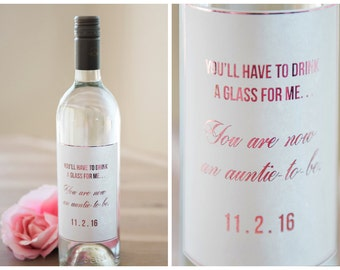 Pregnancy Announcement Wine Label / Auntie-to-be Announcement