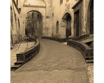 """Fine Art Sepia Photography of Umbria Italy - """"Spoleto Street 2"""" - Vertical or Square Print"""