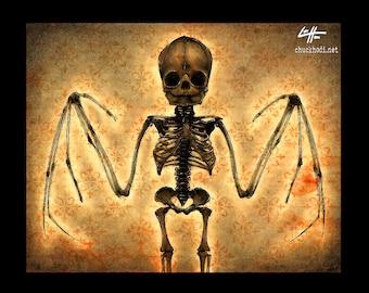 Impression tête de mort squelette de 8 x 10» - Bat - Dark Art horreur Bones gothique Halloween hanté Taxdermy Vampire Dracula Lowbrow Art Zombie Pop les chauves-souris