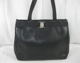 Vintage Salvatore Ferragamo Vara black leather tote bag purse large distressed 90s
