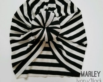 Black and white striped Top knot turban