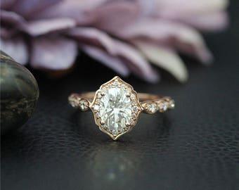 WONDERFUL RING, Forever One Oval Moissanite Ring, 1.5 ctw C&C Moissanite Engagement Ring, Diamond Wedding Ring, Solid 14K Rose Gold Ring,