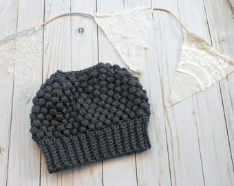 Grey Crochet Messy Bun Beanie READY TO SHIP Adult Women Size Crochet Hat Crochet Beanie for Women Crocheted Hats Messy Bun Hat Charcoal Grey