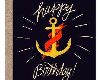 Happy Birthday Card | Nautical Birthday | Anchor | Coastal