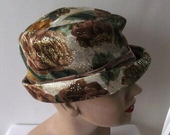 Vintage Hat French Room Stix Baer & Fuller Designer Cream Green Brown Gold Floral Retro Accessoris