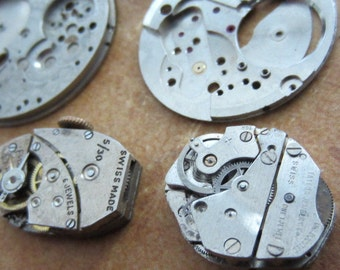 Featured - Steampunk supplies - Watch movement parts - Vintage Antique Watch parts Steampunk - Scrapbooking d30