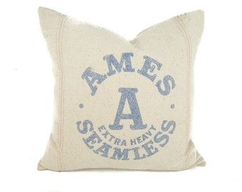 Vintage seed sack pillow cover