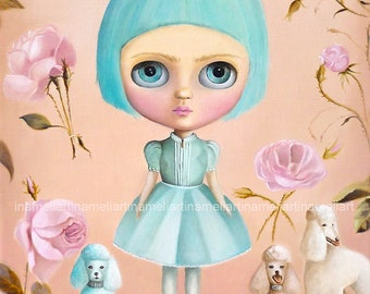 My three poodle dogs  pop surrealism Painting ART PRINT Girl portrait big eyed girl wall decor, queer art fairytale whimsical art