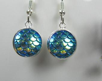 Mermaid scale earrings, nickel free, surgical stainless steel, blue earrings, small drop earrings, silver earrings dangle, ready to ship