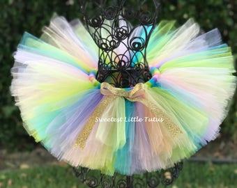 Pastel Rainbow Tutu/ Unicorn Birthday Tutu/ Cake Smash Tutu/ First Birthday Tutu/ Easter Tutu/ Rainbow Birthday/ Rainbow and Gold Birthday