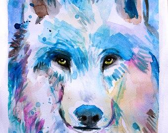 Wolf watercolor portrait original work