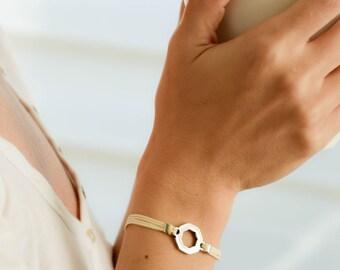 Bracelet for small wrist, Hexagon bracelet, women bracelet, silver Hexagon charm, minimalist geometric jewelry, gift for her, beige bracelet