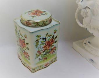 Vintage Daher Floral Flowered Tea Tin made in England Lime Gold Pink
