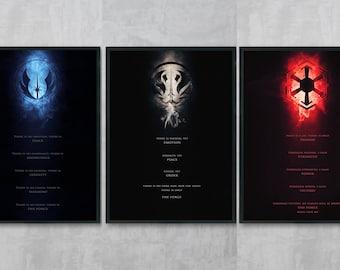 Jedi Code Art Print - Sith Code Poster Print - Star Wars Wall Art - Jedi Portrait - Star Wars Room Decor - Movie Art - Sith Drawing - Bundle