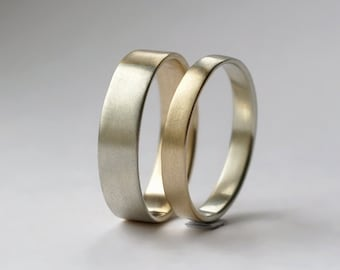 Golden Ratio Wedding Bands Set - 9k White Gold and Yellow Gold, Unique His and Hers Rings