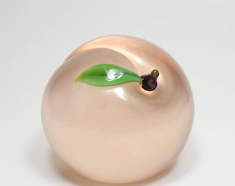 Vintage Large Signed Orient and Flume Pink Iridescent Art Glass Peach Paperweight Orient and Flume Glass Peach Sculpture Huge Glass Peach