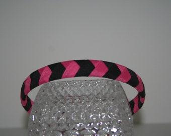 Pink and Black Woven Ribbon Headband