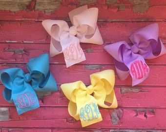 Three Initial Monogram Hair Bow, Assorted Colors Solid Hair Bow, Embroidered Monogrammed Initials, Monogram Hair Bow, School Uniform Bow