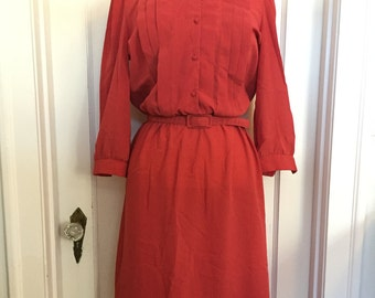 Vintage A-line Pleated Dress - Red Dress - Retro Dress - Long Sleeves - Light Dress - Orite Dress