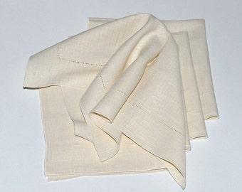 Vintage Natural Linen Off White Napkins, Set of 5