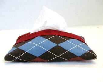 Argyle Tissue Holder Brown  Pocket Tissue Cozy