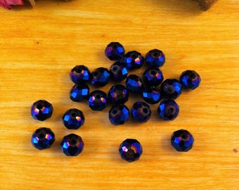 Metallic Blue Crystal iridescent faceted 6 x 4 mm 20 beads