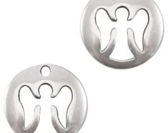 DQ metal pendant, charm Angel, guardian angel-1 piece-Zamak, silver plated