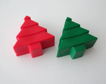 2 Crayons - Christmas Tree - Christmas - Stocking Stuffer - Red and Green - Novelty Crayons - RECYCLED