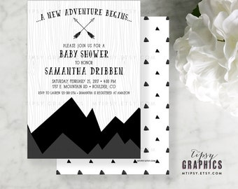 Mountain Adventure Black and White Baby Shower Printable Invitation.  Gender Neutral. It's a Boy. Girl. Twins. By Tipsy Graphics