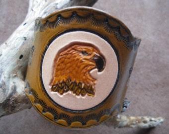 Brown leather Eagle bracelet