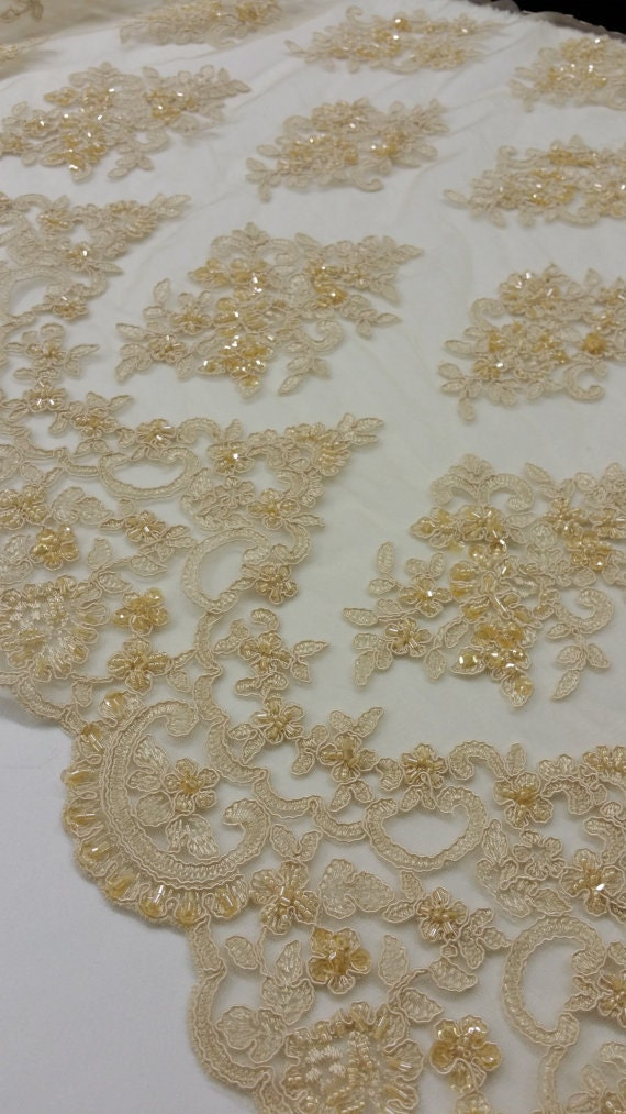 Beige Lace Fabric Gold Lace French Lace Alencon Lace