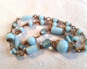 Vintage Edwardian Turquoise Blue Glass Bead Necklace, Czech.