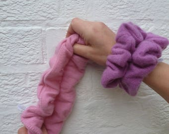 Large cashmere wool scrunchy thick hair band bun holder ponytail wrap chunky hairtie handmade accessory afro band Pink cashmere soft purple.