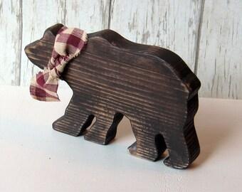 Wood bear. Large wood brown bear. Lodge decor bear.