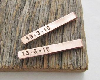 Copper Skinny Tie Clip Usher Tie Clip Junior Groomsman Tie Bar Special Date Suit Accessory Ring Bearer Gift Little Boy Gift Tie Clip Son Him