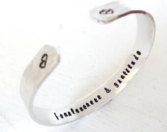 Personalized Engraved Cuff Bracelet, Silver bracelet,  Fearlessness and Gratitude, Inspirational Bracelet , Graduation gift
