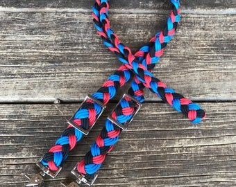 Black/blue/red hand braided paracord barrel reins