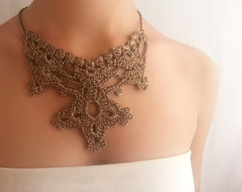 Steampunk jewelry - Long necklace gold - Exotic necklace - Original jewelry - Wearable art - Asian style jewelry
