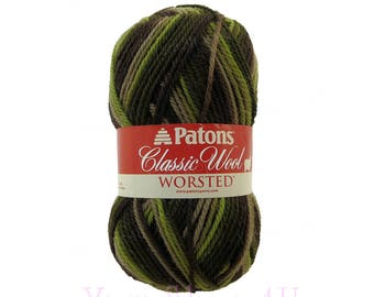 FOREST Patons Classic Wool yarn, Multi Color Wool, Green Brown Variegated yarn, Camo Color. Camouflage wool Pure wool. Felting. 3.5oz 100g √
