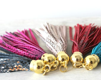 Snakeskin Leather Tassels Keychains