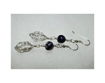 ww1383 - CHAROITE & HERKIMER DIAMOND Wirewrap Earrings - Argentium Sterling Silver