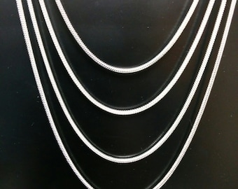 """Stunning Sterling Silver Necklace - 2MM Snake necklace with lobster clasp.  Choose 18"""", 20"""", 22"""" or 24"""" lengths.  BEST SELLER.  On sale now!"""