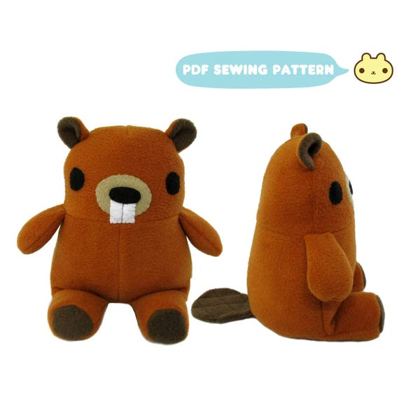 Beaver Stuffed Toy Pattern, Stuffed Animal Pattern, Sewing Patterns ...