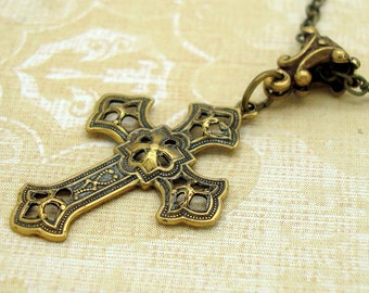 Small Gothic Cross Necklace in Neo Victorian Jewelry Style