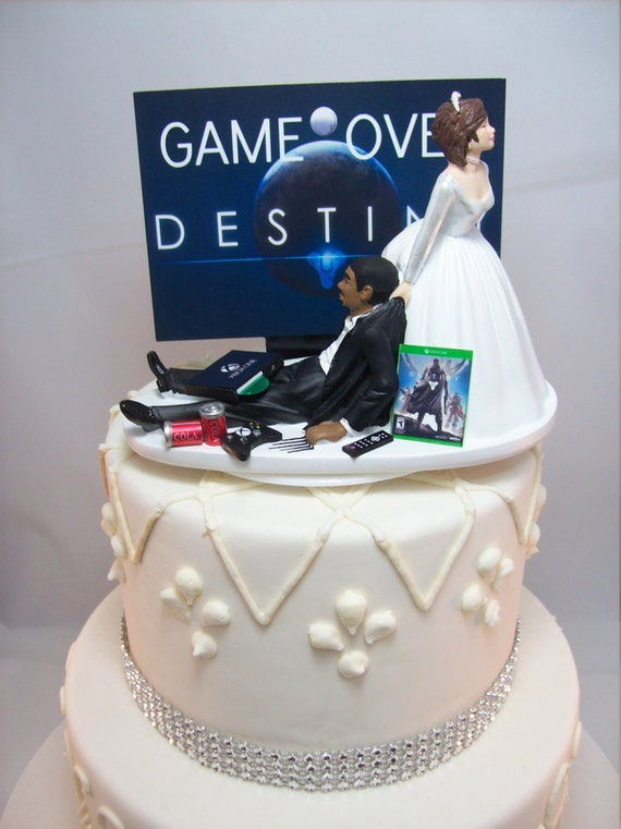 funny wedding cake topper dest game over gamer gaming. Black Bedroom Furniture Sets. Home Design Ideas