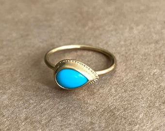 14K gold plated sterling pear shaped Sleeping beauty Turquoise ring