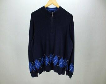 Eddie Bauer Sweater Vintage Blue Black Quarter Zip Designer Pullover Men's Size XL