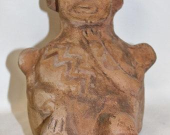 Effigy : Very Nice Tiwanaku Clay Effigy In The Shape of a Man From Bolivia #356